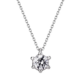 Platinum [Pt950] Circle Crown 5 CZ Platinum Necklace [overnightdelivery]