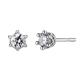 Platinum [Pt950] Circle Crown 5 CZ Platinum Earring [overnightdelivery]