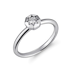 Platinum [Pt950] Octagon 3 parts CZ Platinum ring