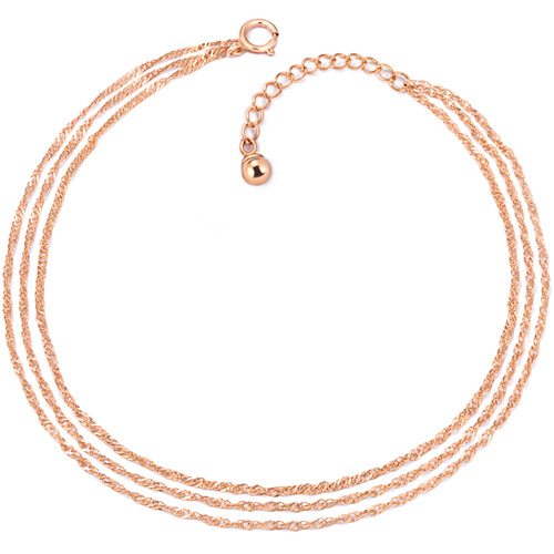 ★ NORMAIN special price ★ 14K tri-chain three-line anklet [overnightdelivery]