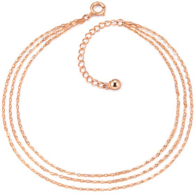 ★ NORMAJIN special price ★ 14K clean cord three-line anklet [overnightdelivery]