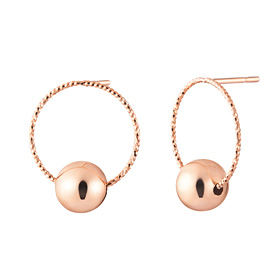 14K ten pieces rose gold ball earrings [overnightdelivery]