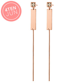 14K Potenza flat pin long earrings