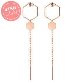 14K Potenza Six Angle Long Earrings