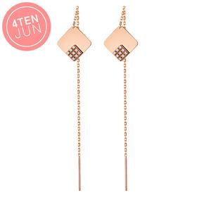 14K Potenza Ray Cube Long Earrings