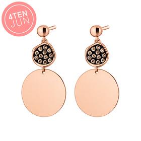 14K Potenza black circle earring