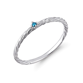 Platinum [Pt950] Blue rope blue diamond Platinum ring