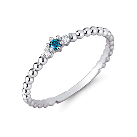 Platinum [Pt950] blue crown blue diamond platinum ring
