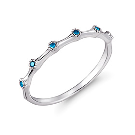 Platinum [Pt950] blue eyes blue diamond platinum ring