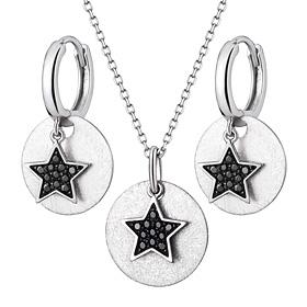 Platinum [Pt950] Dark Star Platinum Set [Necklace + earring]