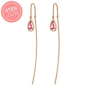 14K Potenza Pink Drop Long Earrings