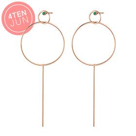 14K Potenza Raleigh Circle Long Earrings