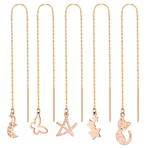 14K Cute Long Earrings [5 House 1] [overnightdelivery]