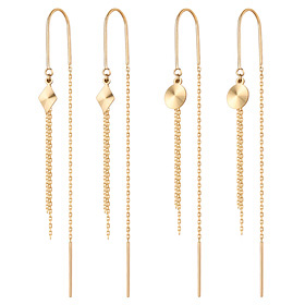 14K mirror long earrings [2 couples 1] [overnightdelivery]
