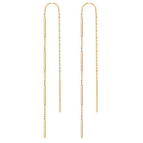 14K stick rod long earrings [overnightdelivery]