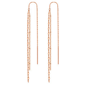 14K Two-Lined Clover Long Earrings