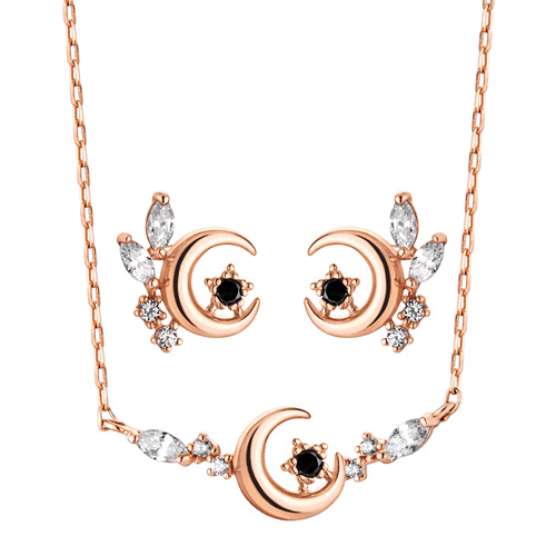 14K / 18K Moon Flower set [Necklace + earring]