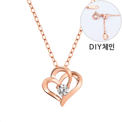 [Part 1 Contemporary Emotion] <br> 14K / 18K Hug Heart 1 part Diamond Necklace [DIYchain] [overnightdelivery]
