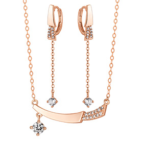 14K / 18K half shard set [Necklace + long earrings]