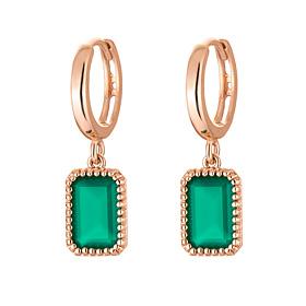 14K / 18K natural green onyx earring