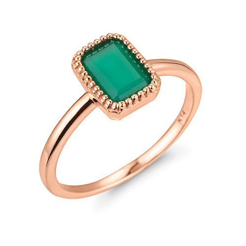 14K / 18K natural green onyx ring