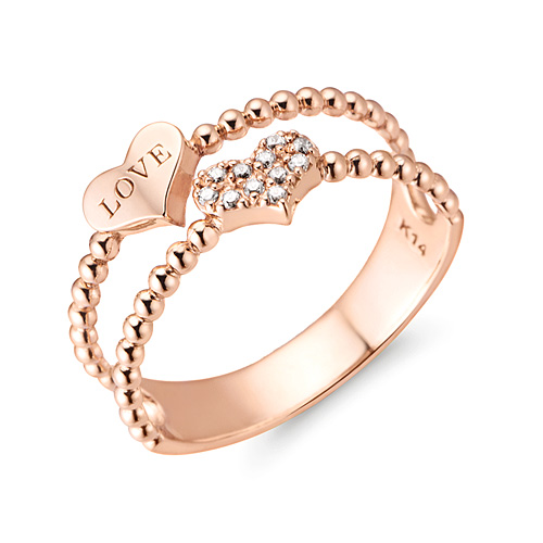 14K / 18K double bubble heart ring