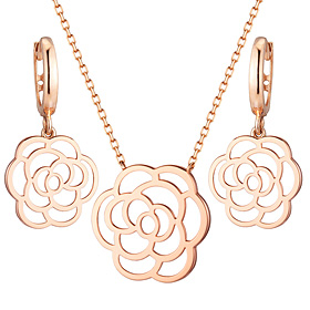 14K / 18K Lavigne Rose set [Necklace + earring]