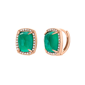 14K / 18K natural deep green onyx earring