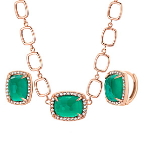 14K / 18K natural Deep Green Onyx set [Necklace + earring]