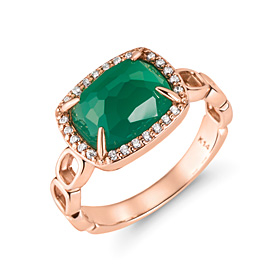 14K / 18K natural deep green onyx ring