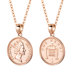14K / 18K Lucky Queen Coin Medal Necklace