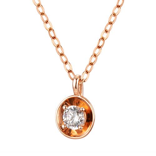 14K / 18K Coin Dish Necklace [Swarovski Stone]