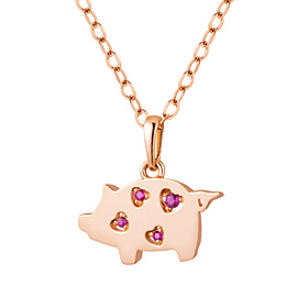 14K / 18K Wishing Boron Pig Necklace [2 families 1]