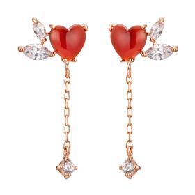 14K heart throbbing earring [natural Jamano]