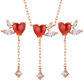 14K heart throbbing set [Necklace + earring]
