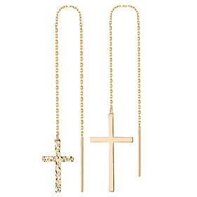 14K cross long earrings [2 couples 1] [overnightdelivery]