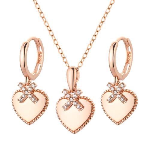 14K / 18K Foxy heart set [Necklace + earring]