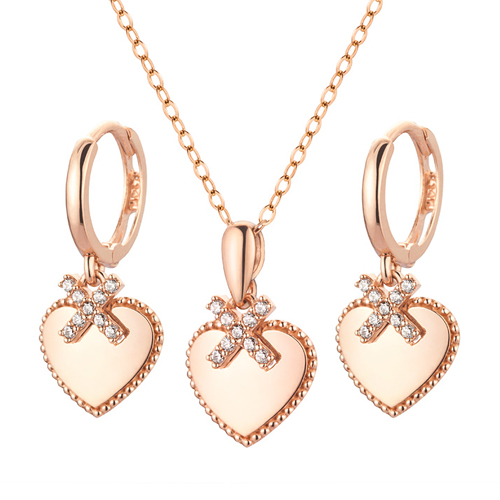 14K / 18K Foxy heart set [Necklace + earring]
