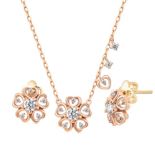 14K / 18K flower heart set [Necklace + earring]