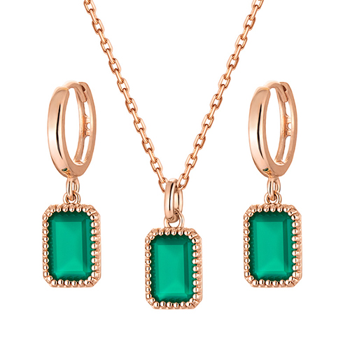14K / 18K natural green onyx set [Necklace + earring]