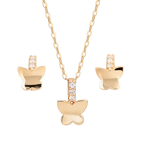 14K / 18K butterfly elf set [Necklace + earring] [overnightdelivery]