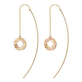 14K twin boss long earrings [overnightdelivery]