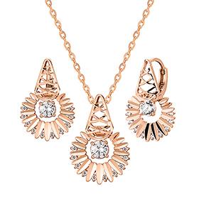 14K / 18K Goddess of Sun set [Necklace + earring]