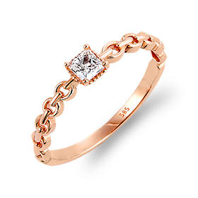 14K / 18K kiss cast square chain ring
