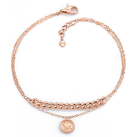 14K / 18K Heart Coin two lines bracelet