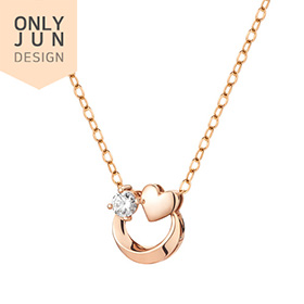 14K / 18K Heart Full Moon Necklace [overnightdelivery]