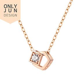 [Shopping Bag Gift] 14K / 18K Twin Box Necklace Swarovski Stone [overnightdelivery]