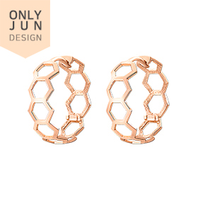 14K / 18K Real Hexagon Skin Fit earring [overnightdelivery]