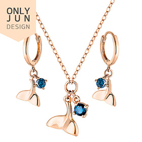 14K / 18K Dolphin Tail set [Necklace + earring] [overnightdelivery]