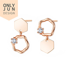 14K / 18K Aurora Hexagon earring
